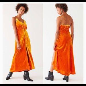 UO Lady Lava Button Velvet Crush Dress